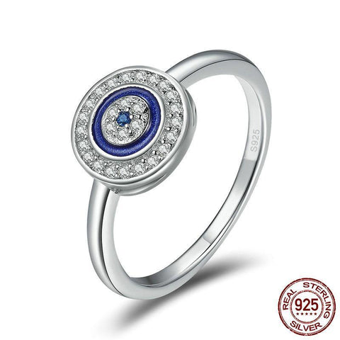 Authentic 100% 925 Sterling Silver Lucky Blue Eyes Women Finger Ring Wedding & Engagement Ring Ring