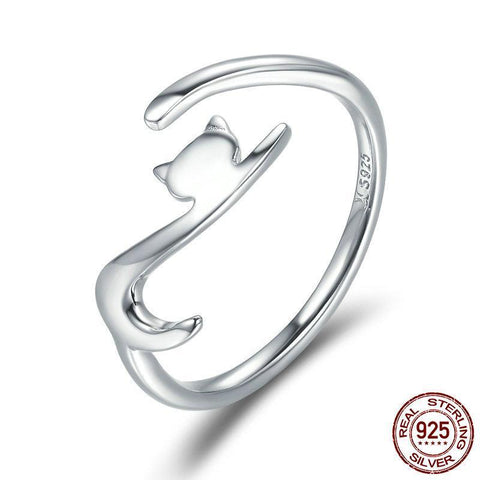 100% 925 Sterling Silver Sticky Cat with Long Tail Finger Ring Women Ring Adjustable Engagement Ring Ring