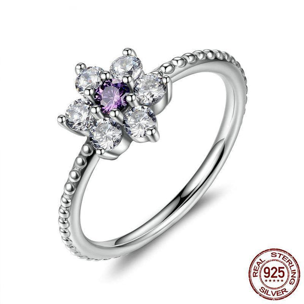 925 Sterling Silver Finger Rings Forget Me Not, Purple & Clear CZ Ring Female Wedding Ring joyas de plata 925