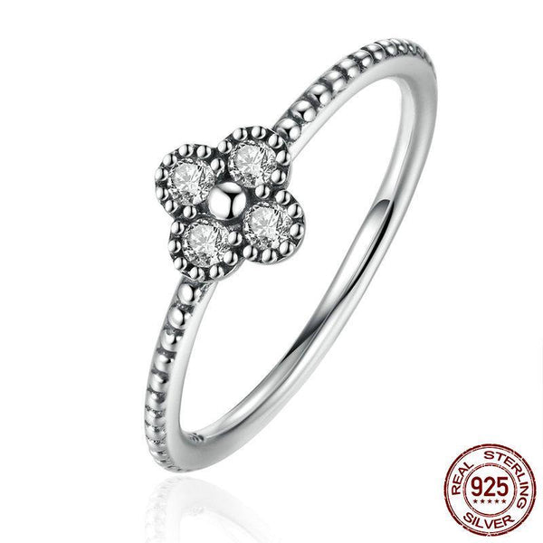 Authentic 925 Sterling Silver Clear CZ Simple Finger Ring for Women Fashion Ring