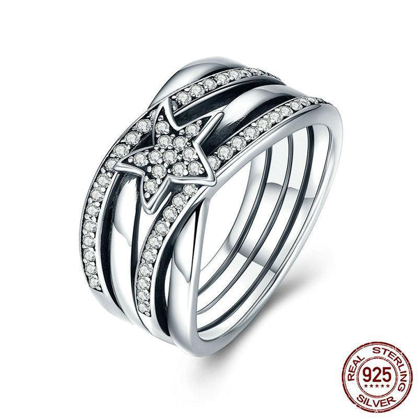 Spring Collection 925 Sterling Silver Star Twisted Statement Ring For Women Engagement S925 Silver Ring