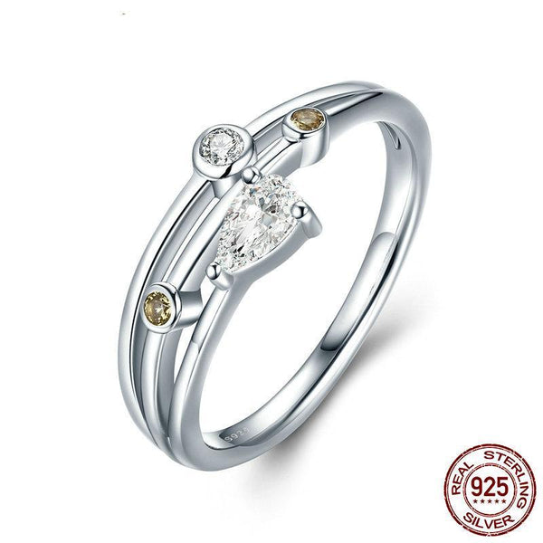 Spring Collection 925 Sterling Silver Water Drop Zircon Finger Ring For Women Party S925 Silver Ring