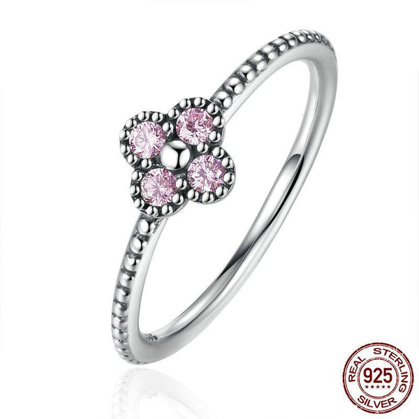 100% 925 Sterling Silver Pink & White Clear CZ Romantic Clover Ring Women Fashion Ring