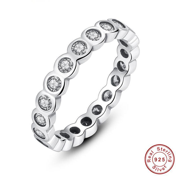 925 Sterling Silver Alluring Brilliant Stackable Finger Ring with Clear CZ Original Fine Ring