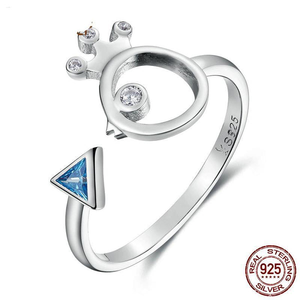 100% 925 Sterling Silver Adorable Bird Fish & Light Blue Crystal Finger Rings for Women Sterling Silver Ring