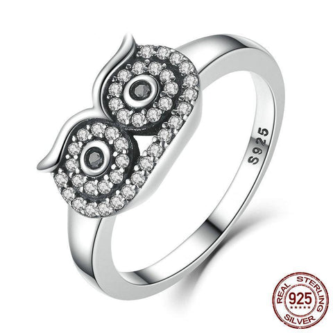 Genuine 100% 925 Sterling Silver Clear CZ Cute Owl Stackable Finger Ring for Woman Wedding Engagement Ring
