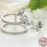 Genuine 100% 925 Sterling Silver Vivid Tree Leaves DIY 2 pcs Finger Ring Women Fashion Ring Party