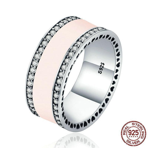 925 Sterling Silver Radiant Hearts & Light Pink Enamel Clear CZ Wide Band Ring for Women Wedding Ring Gift