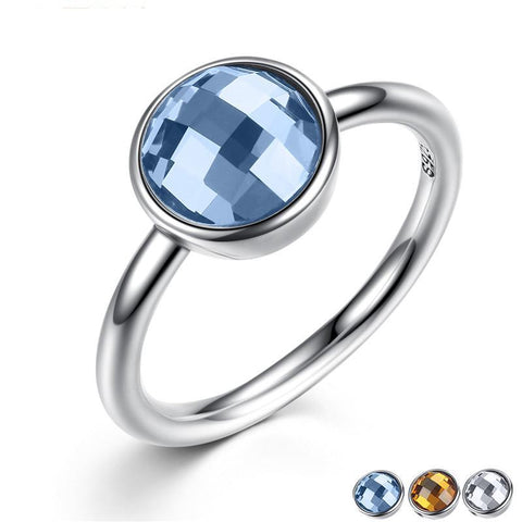 Summer Collection Pure 925 Sterling Silver Rings Blue Imitated Stone Finger Ring Women Fine Ring