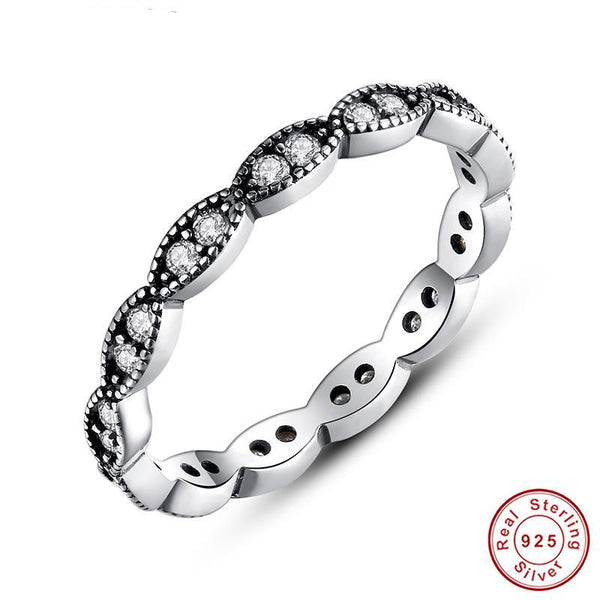 Authentic 100% 925 Sterling Silver Leaves Stackable Ring Clear Cubic Zirconia Compatible with Original Ring PA7120