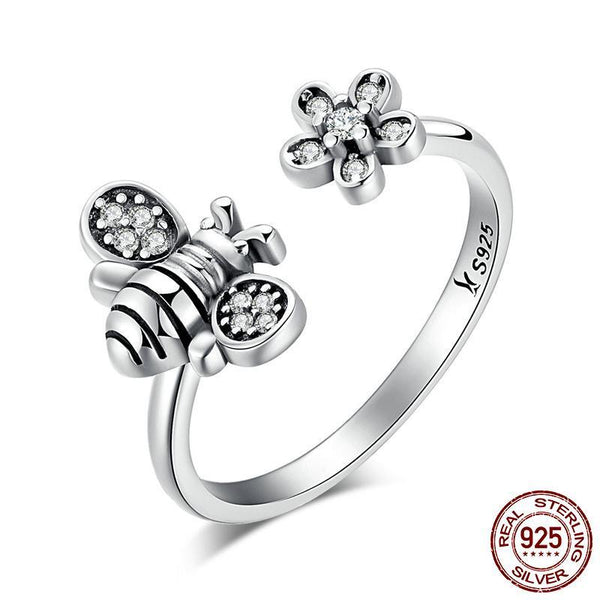 Hot Sale 925 Sterling Silver Cute Bee & Poetic Daisy Flower Open Finger Ring for Women Sterling Silver Ring
