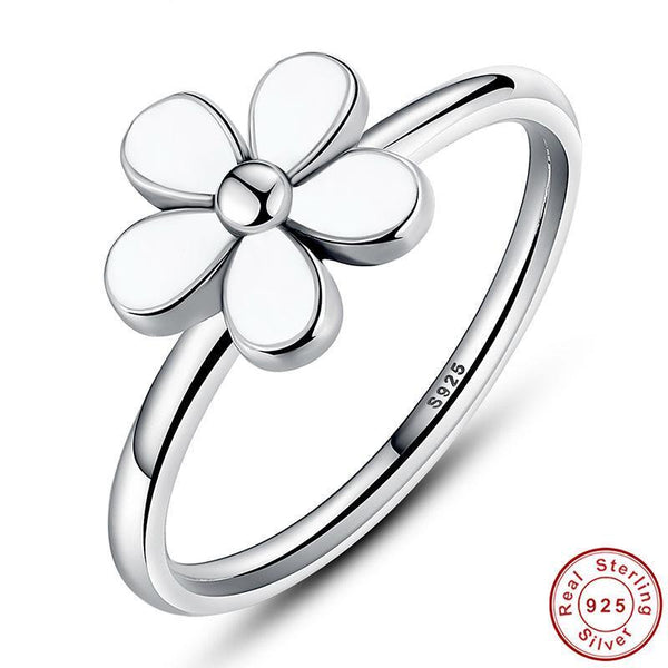 Flower 925 Sterling Silver Darling DAISY Stackable RING White Enamel WITH WHITE ENAMEL Authentic Ring