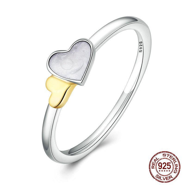 100% Genuine 925 Sterling Silver Luminous Hearts Feature Ring Women Sterling Silver Ring