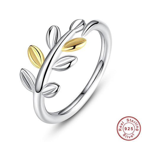 925 Sterling Silver Laurel Leaves Ring with Two Luxurious Leaves Original Ring for Women Wedding Ring Female