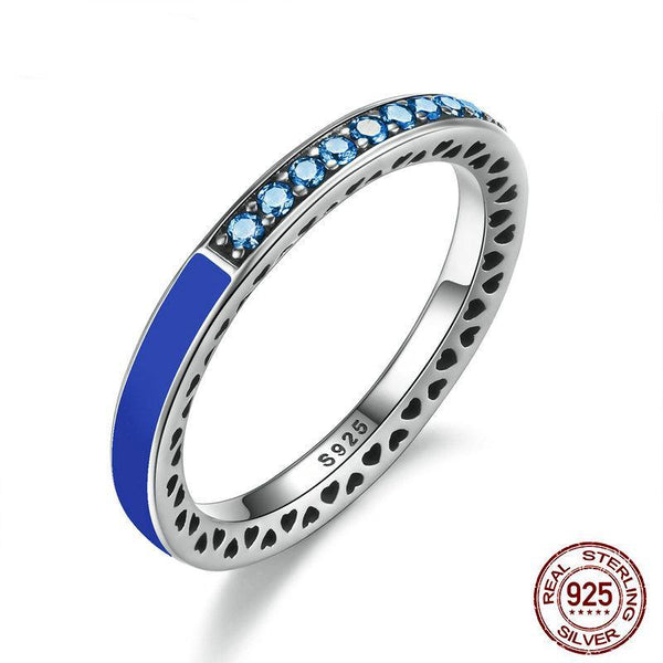 100% 925 Sterling Silver Radiant Hearts of Princess Blue Enamel & Royal Blue Crystals Women Ring Wedding Ring