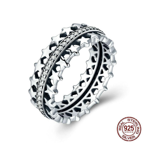 Authentic 925 Sterling Silver Star Trail Statement Ring For Women Engagement S925 Silver Exaggerate Ring