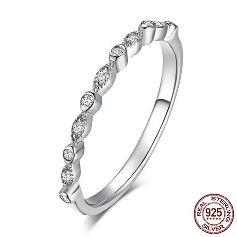 Authentic 925 Sterling Silver Dazzling AAA Zirconia Stackable Ring for Women Wedding Ring Girlfriend Gift