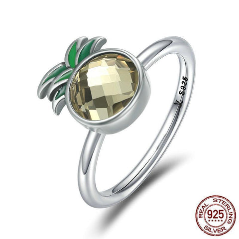 100% 925 Sterling Silver  Freshing Pineapple Finger Ring Clear CZ Female Rings for Women Sterling Silver Ring