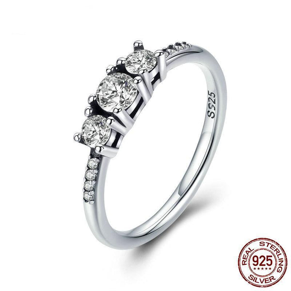 Real 100% 925 Sterling Silver Fairytale Sparkling Ring, Clear CZ Finger Ring for Women Wedding Engagement Ring