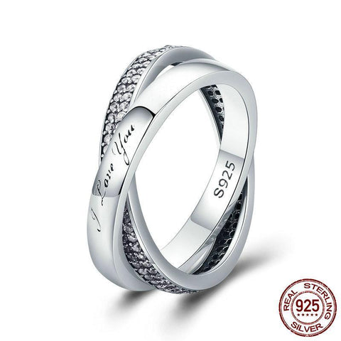 2018 New 100% 925 Sterling Silver Sweet Promise Ring, Dazzling CZ Female Finger Ring for Women Wedding Ring