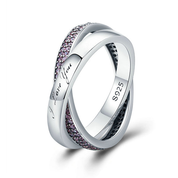100% 925 Sterling Silver Sweet Promise Ring, Dazzling CZ Female Finger Ring for Women