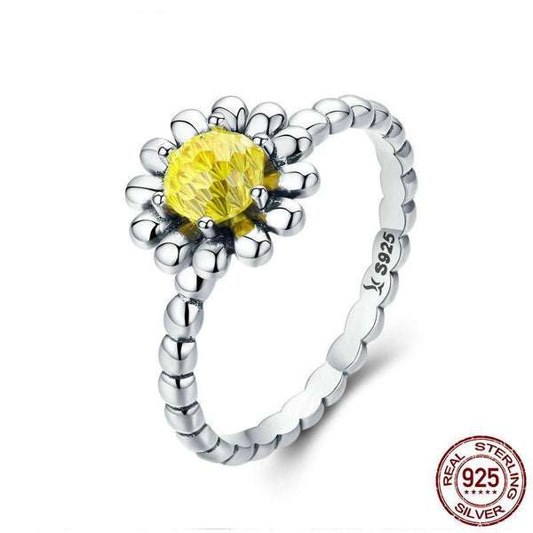 925 Sterling Silver Female Yellow Daisy Flower Clear CZ Finger Ring for Women Anniversary Wedding Ring Anel