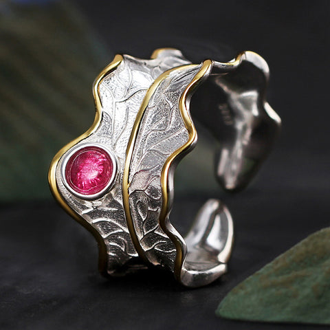 Real 925 Sterling Silver Tourmaline Handmade Designer Fine Adjustable Leaf Natural Rings for Women