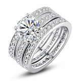 Luxury Brand Fashion Silver Color Bridal Set Ring for Women with Paved Micro Zircon Crystal Wedding Ring