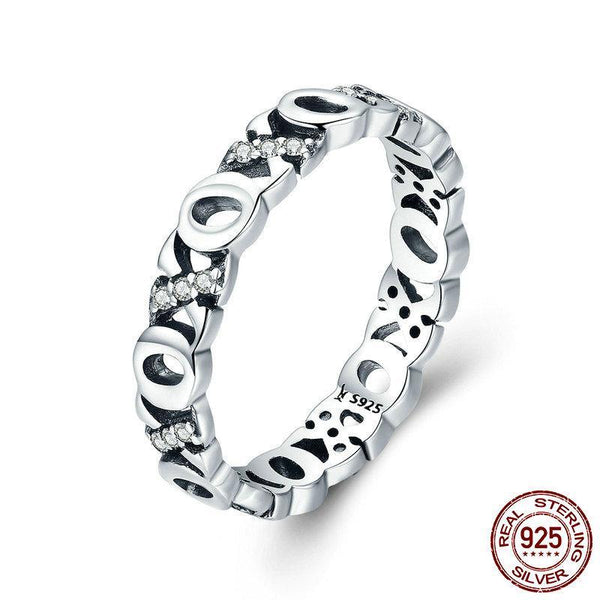 925 Sterling Silver Stackable Kiss & Hug Clear CZ Finger Rings for Women Luxury Silver Ring Valentine Day Gift