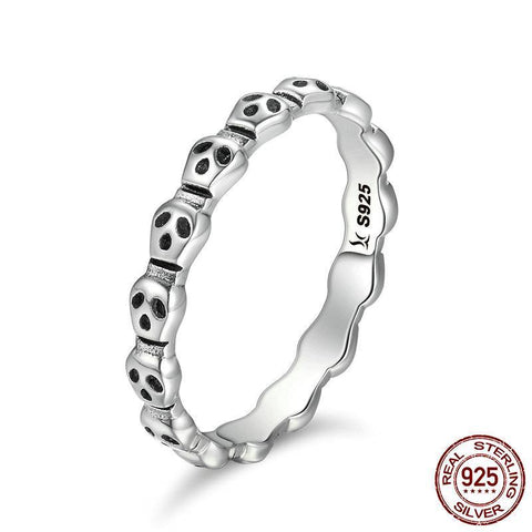Genuine 925 Sterling Silver Stackable Ring Skeleton Face Skull Finger Rings for Women Ring