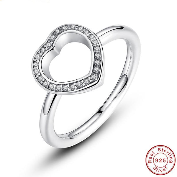925 Sterling Silver Heart Be My Valentine Ring with Clear CZ Original New Collection Fine Ring