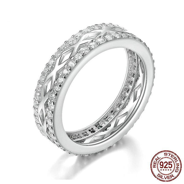 High Quality 925 Sterling Silver Elegant Gorgeous Melody Letter X Clear CZ Stackable Ring Wedding Ring