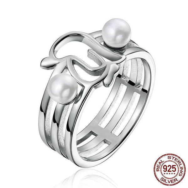 Genuine 925 Sterling Silver Openwork Penguins & Simulated Pearl Finger Ring for Women Anniversary Ring