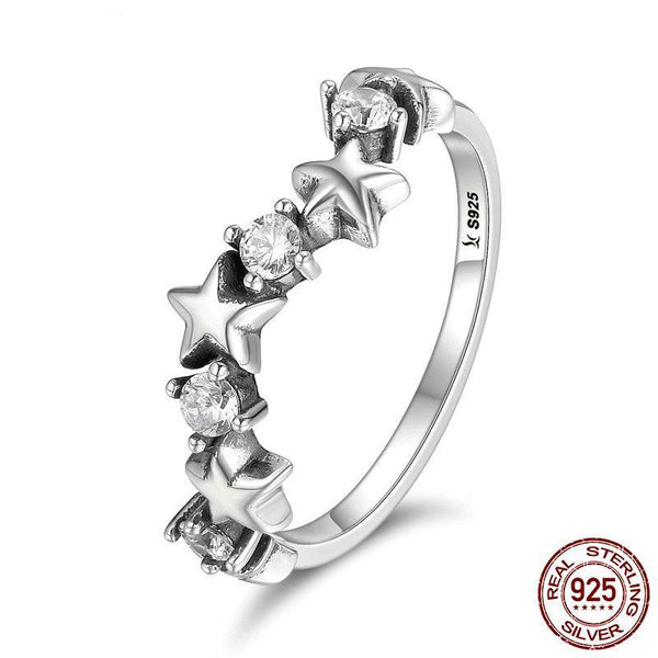 High Quality 100% 925 Sterling Silver Sparking Star  Luminous CZ Finger Rings for Women Sterling Silver Ring