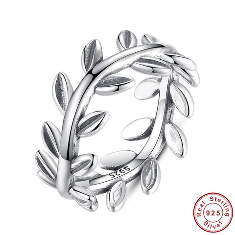 New Collection Authentic Laurel Wreath Laurel Leaves Ring 100% Fine 925 Sterling Silver Ring