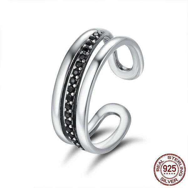 High Quality Genuine 925 Sterling Silver Urban Style Black CZ Female Wedding Band Ring Party Anniversary Ring