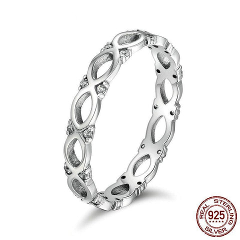 Authentic 925 Sterling Silver Stackable Ring Infinity Love Finger Rings for Women Sparking CZ Wedding Ring