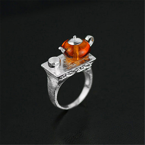 Real 925 Sterling Silver Natural Amber Original Handmade Fine Jewelry Vintage Ring Cute Teapot Rings for Women Bijoux