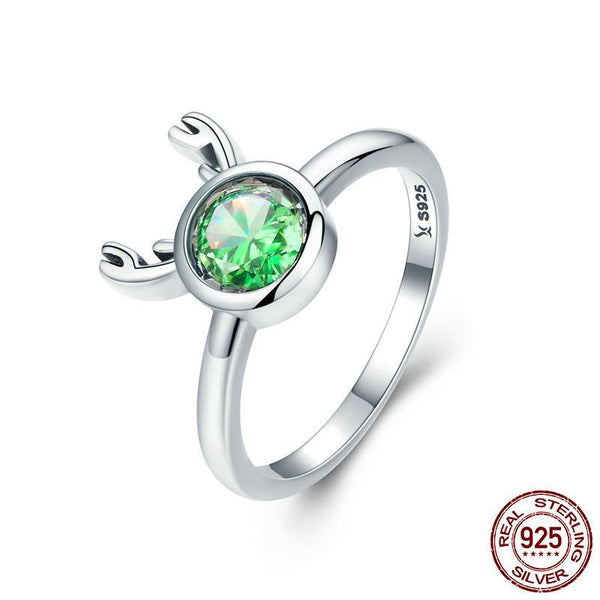 Fashion New 925 Sterling Silver Christmas Cute Deer Animal Finger Rings for Women Green Crystal Silver Ring