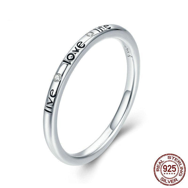 100% Authentic 925 Sterling Silver Live Love Life Letter Engrave Finger Ring for Women Wedding Engagement Ring