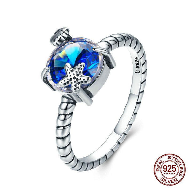 100% 925 Sterling Silver Seaside Scroll Blue Crystal Stone Starfish Finger Ring for Women Sterling Silver Ring