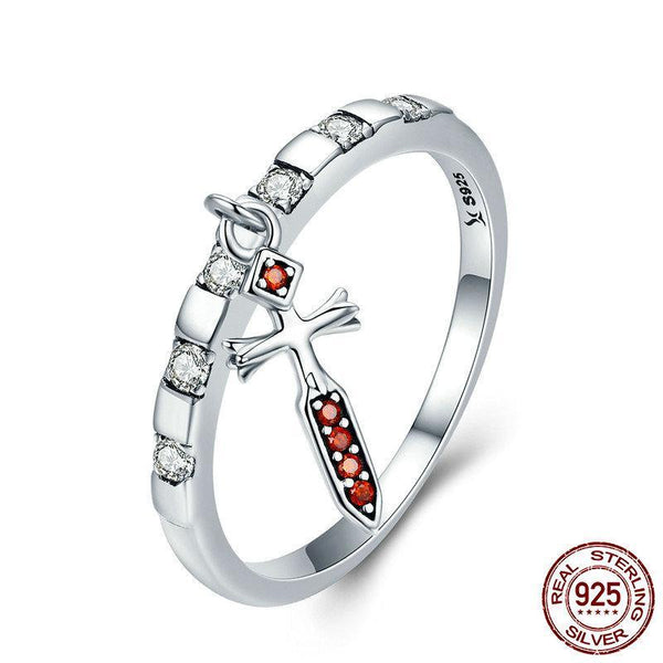 100% 925 Sterling Silver Day Ring Tuesday Tyr Courage Sword Dangle Female Ring for Women Sterling Silver Ring