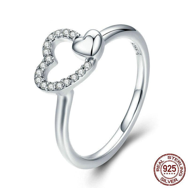 100% 925 Sterling Silver Romantic Heart to Heart AAA CZ Dangle Finger Ring for Women Wedding Engagement Ring