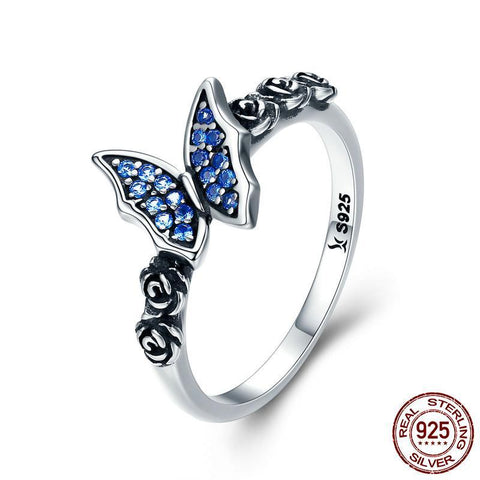 Spring Collection 925 Sterling Silver Butterfly & Flower Blue CZ Finger Rings for Women Sterling Silver Ring