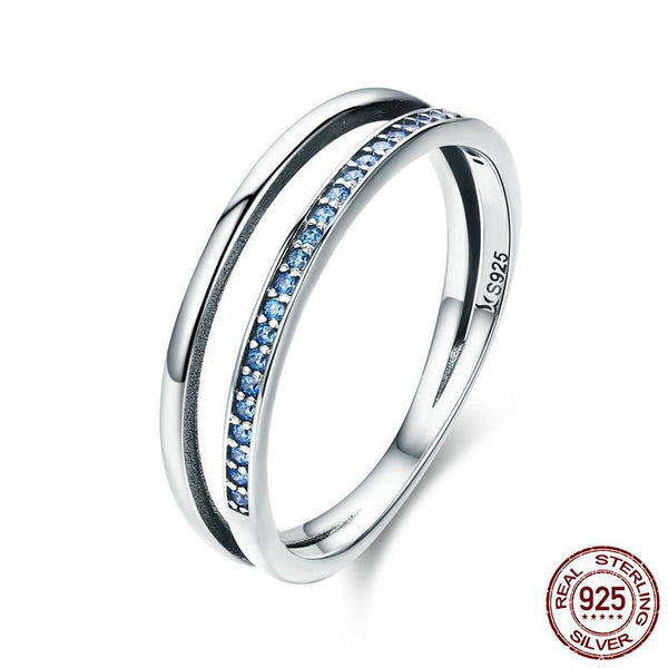 Hot Sale 100% 925 Sterling Silver Stackable Blue CZ Double Circle Layers Ring for Women Authentic Silver Ring
