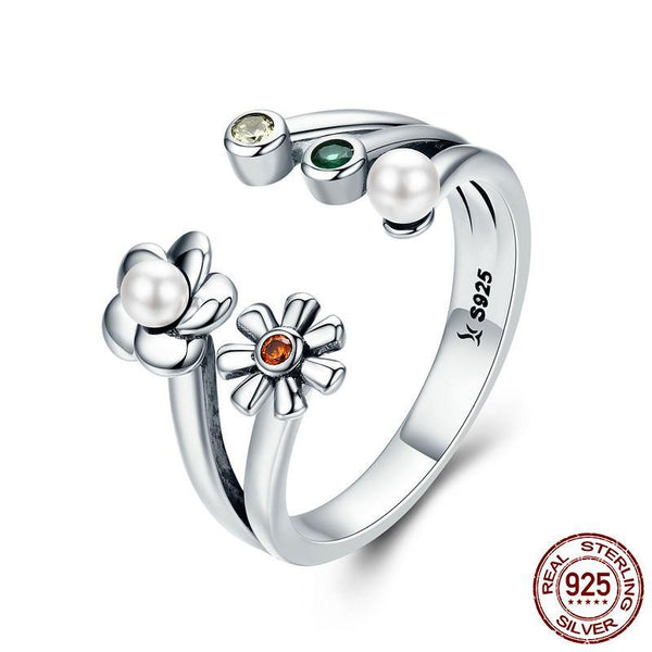 Genuine 925 Sterling Silver Adjustable Daisy Flower Dazzling CZ Female Ring for Women Wedding Engagement Ring