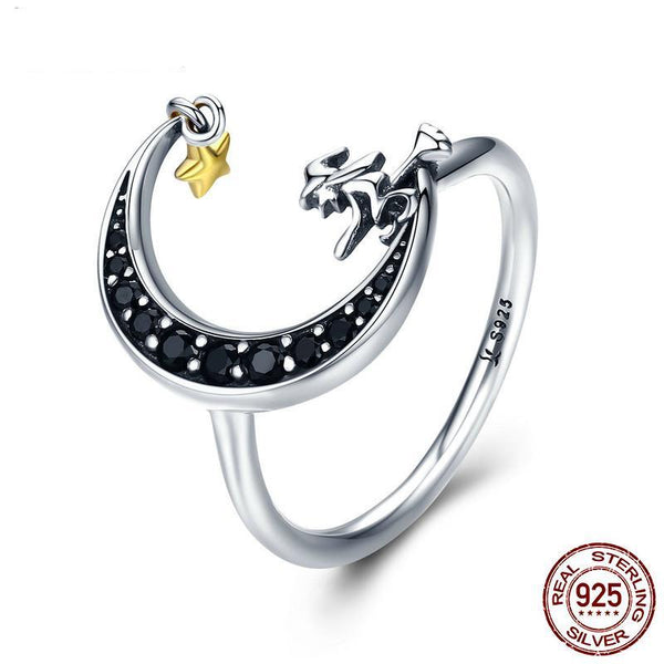 100% 925 Sterling Silver Magic Witch in Moon Star Black CZ Dangle Finger Ring for Women Sterling Silver Ring