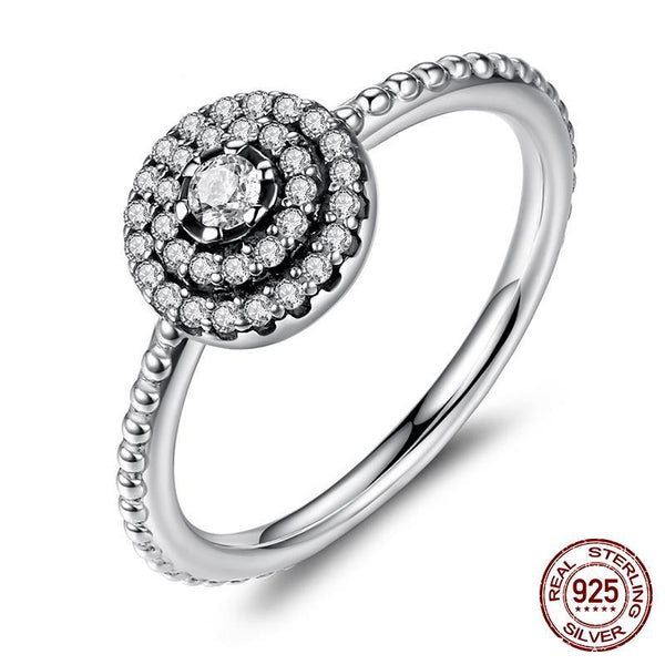 925 Sterling Silver Round Shape Radiant Elegance, Clear CZ Flower Finger Rings for Women ANNIVERSARY SALE 2018
