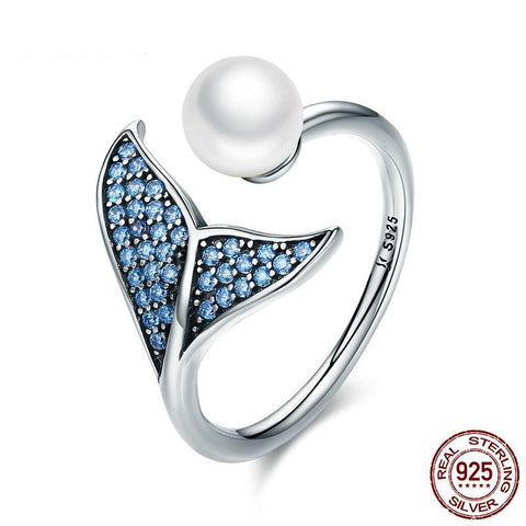Authentic 925 Sterling Silver Adjustable Dolphin Tail Blue CZ Finger Rings for Women Sterling Silver Ring Gift