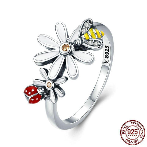 Genuine 100% 925 Sterling Silver Bee and Ladybug in Flower Garden Finger Rings for Women Sterling Silver Ring